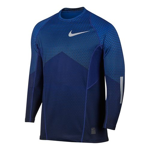 Mens Nike Pro Hyperwarm Long Sleeve Technical Tops - Game Royal M