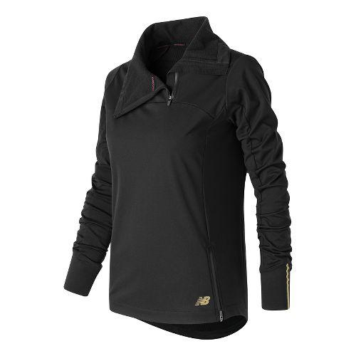 Womens New Balance Soft Shell Quarter Zip Long Sleeve Technical Tops - Black M