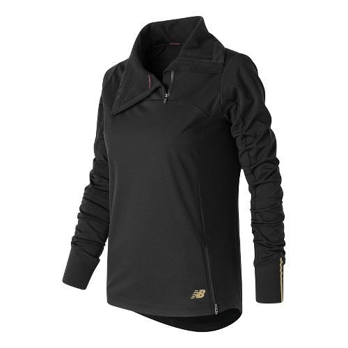 Womens New Balance Soft Shell Quarter Zip Long Sleeve Technical Tops - Black S