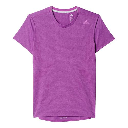 Womens adidas Supernova Tee Short Sleeve Technical Tops - Shock Purple XS