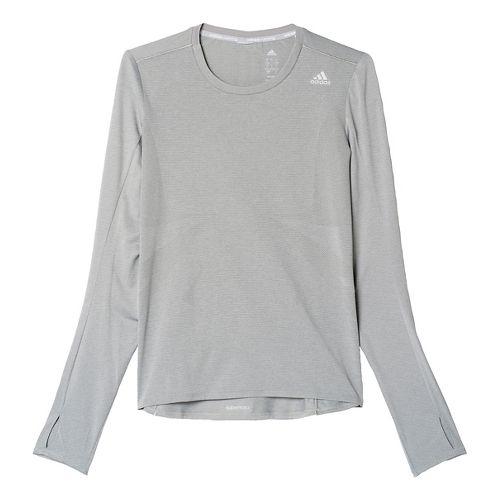 Womens adidas Supernova Tee Long Sleeve Technical Tops - Solid Grey S