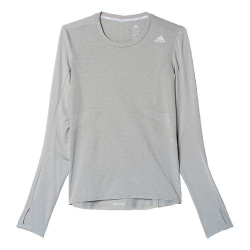 Womens adidas Supernova Tee Long Sleeve Technical Tops - Solid Grey XL