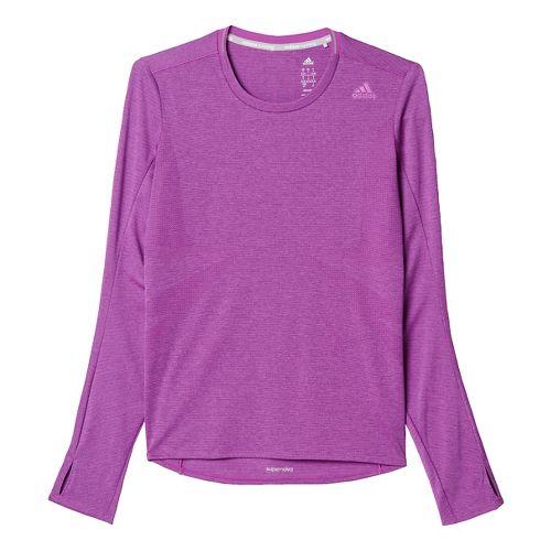 Womens adidas Supernova Tee Long Sleeve Technical Tops - Shock Purple XS