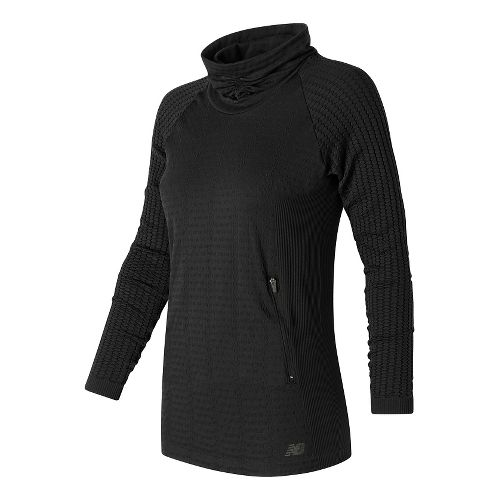 Womens New Balance M4M Seamless Cable Pullover Long Sleeve Non-Technical Tops - Black M