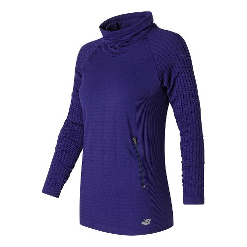 Womens New Balance M4M Seamless Cable Pullover Long Sleeve Non-Technical Tops - Aviator M