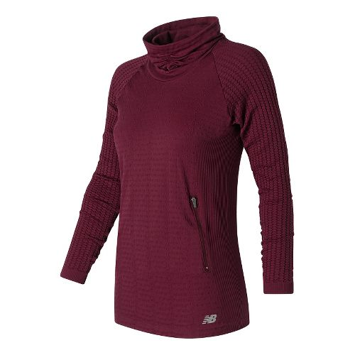 Womens New Balance M4M Seamless Cable Pullover Long Sleeve Non-Technical Tops - Sedona S