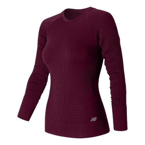 Womens New Balance M4M Seamless Long Sleeve Non-Technical Tops - Sedona S