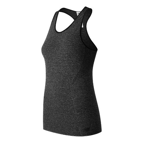Womens New Balance M4M Seamless Sleeveless & Tank Technical Tops - Black Heather M