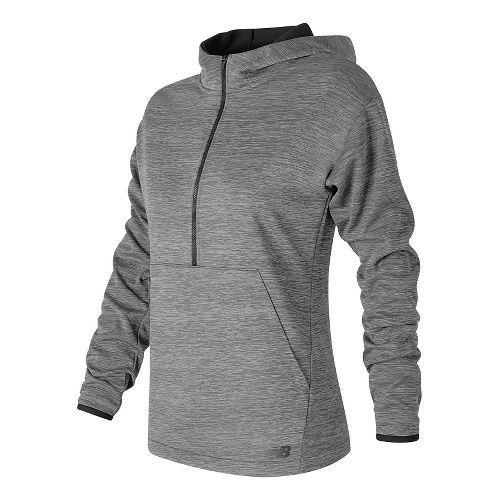 Womens New Balance Laminated Fleece Hoodie & Sweatshirts Technical Tops - Grove Heather XS