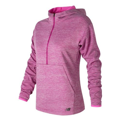 Womens New Balance Laminated Fleece Hoodie & Sweatshirts Technical Tops - Jewel Heather S