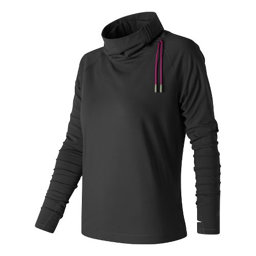 Womens New Balance Comfy Pullover Long Sleeve Technical Tops - Black M