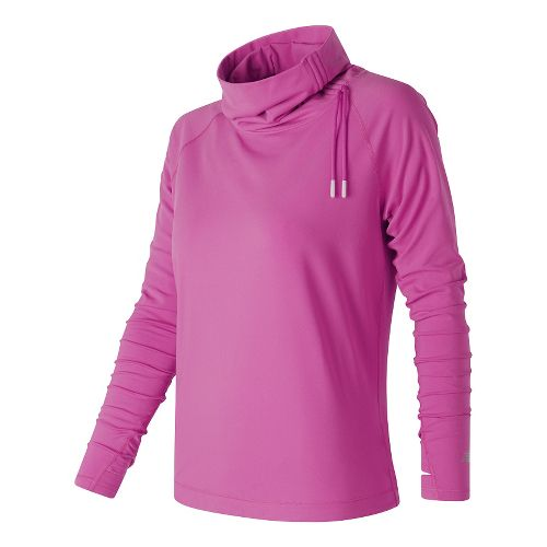 Womens New Balance Comfy Pullover Long Sleeve Technical Tops - Fusion L