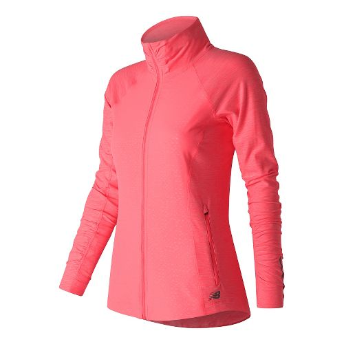 Womens New Balance Mixed Media En Route Running Jackets - Guava Heather XL