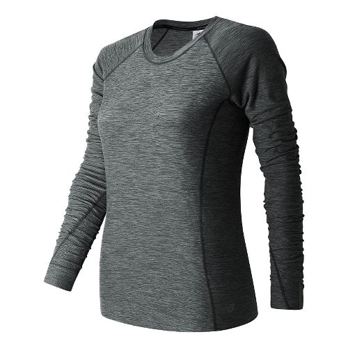 Womens New Balance In Transit Long Sleeve Technical Tops - Black Heather M