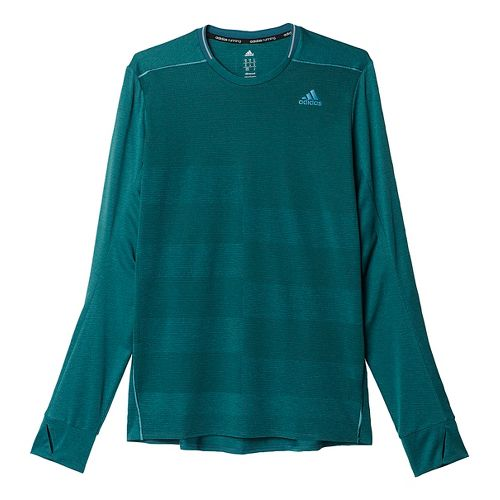 Mens adidas Supernova Tee Long Sleeve Technical Tops - Tech Green L