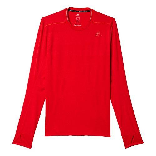 Mens adidas Supernova Tee Long Sleeve Technical Tops - Raye Red S