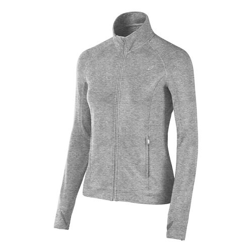 Womens ASICS Full Zip Fleece Long Sleeve Technical Tops - Heather Grey M