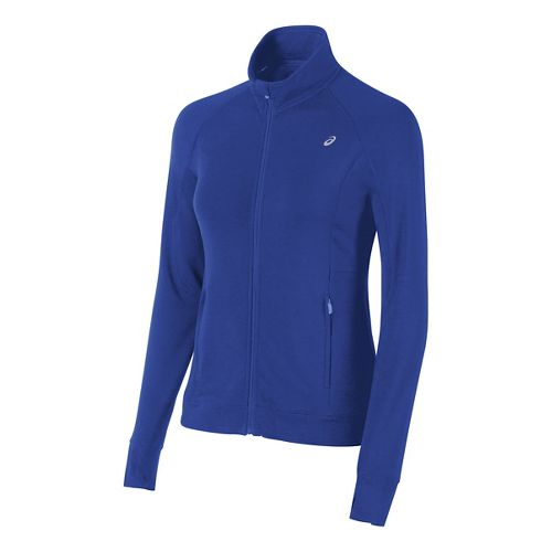 Womens ASICS Full Zip Fleece Long Sleeve Technical Tops - Royal Blue S