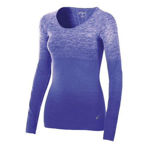 Womens ASICS Seamless Long Sleeve Technical Tops - Royal Blue L