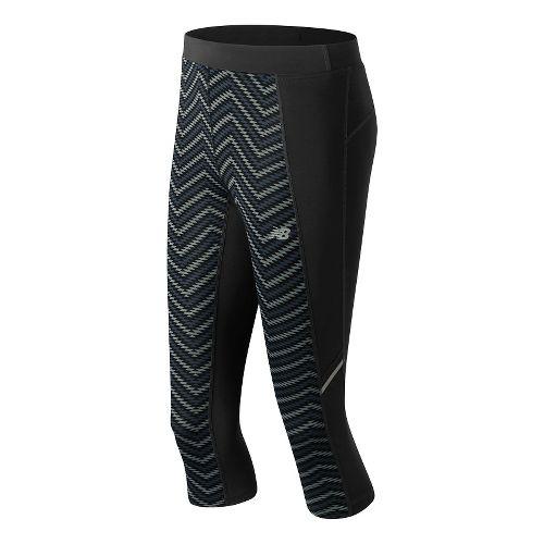 Womens New Balance Printed Accelerate Capris Pants - Black/Grey XS