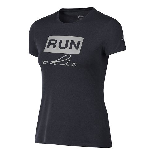 Womens ASICS Run Chic Tee Short Sleeve Technical Tops - Black Heather XS