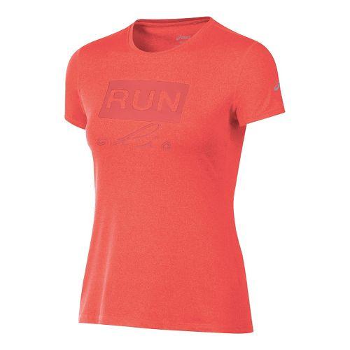 Womens ASICS Run Chic Tee Short Sleeve Technical Tops - Red Heather XL