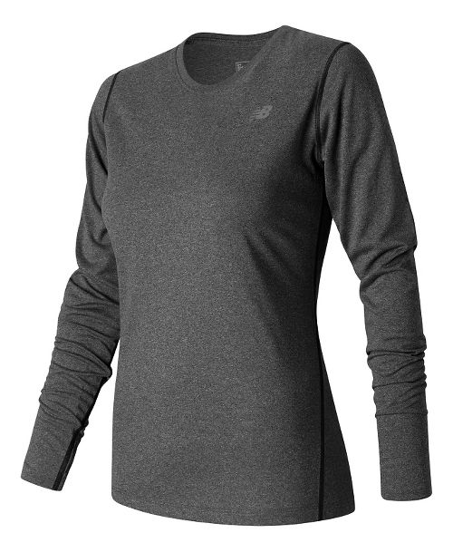 Womens New Balance Heathered Long Sleeve Technical Tops - Black Heather L