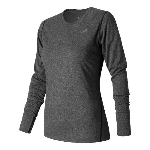 Womens New Balance Heathered Long Sleeve Technical Tops - Black Heather S