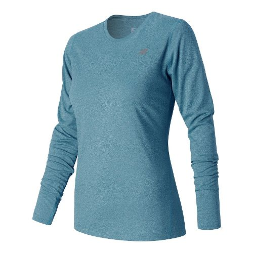 Womens New Balance Heathered Long Sleeve Technical Tops - Castaway Heather M