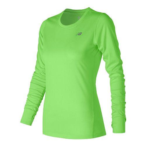 Womens New Balance Heathered Long Sleeve Technical Tops - Lime Glow Heather S