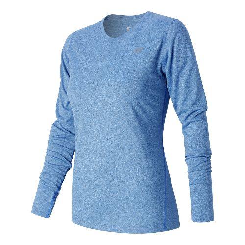 Womens New Balance Heathered Long Sleeve Technical Tops - Majestic Blue Heather XL