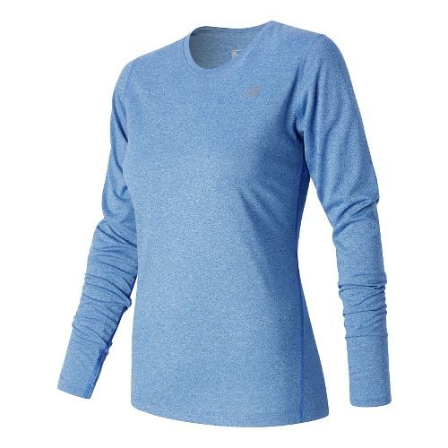 Womens New Balance Heathered Long Sleeve Technical Tops - Majestic Blue Heather XS