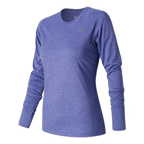 Womens New Balance Heathered Long Sleeve Technical Tops - Spectral Heather L