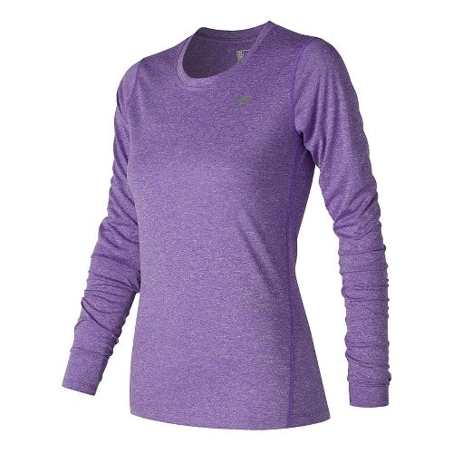 Womens New Balance Heathered Long Sleeve Technical Tops - Alpha Violet Heather L
