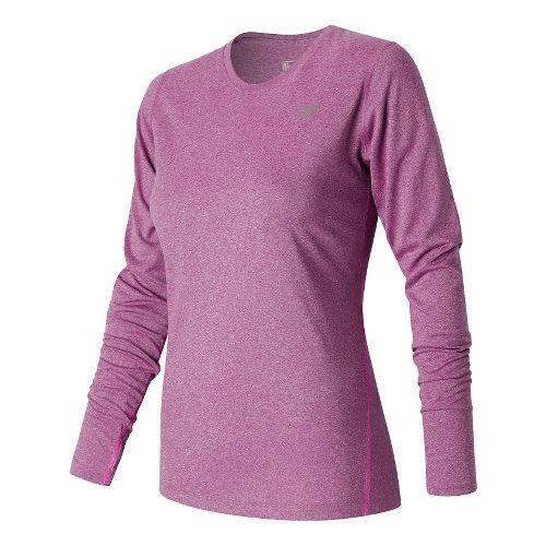 Womens New Balance Heathered Long Sleeve Technical Tops - Jewel Heather S
