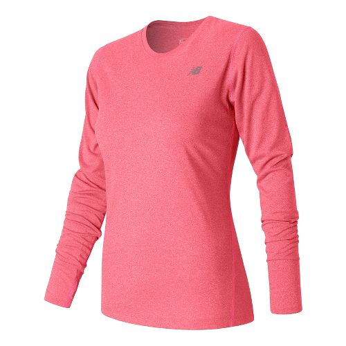 Womens New Balance Heathered Long Sleeve Technical Tops - Guava Heather M