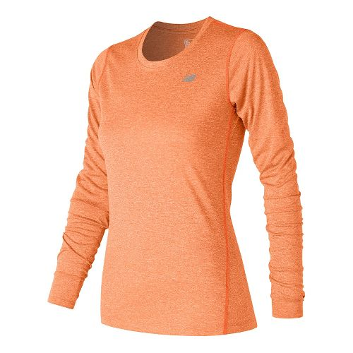 Womens New Balance Heathered Long Sleeve Technical Tops - Alpha Orange Heather M