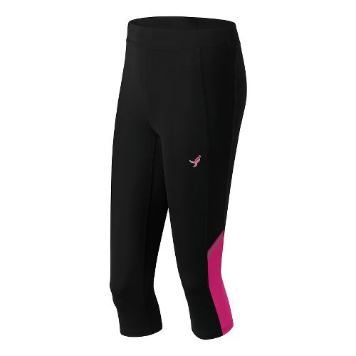 Womens New Balance Lace Up Accelerate Capris Pants - Black/Alpha Pink XXL