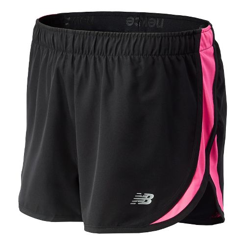 Womens New Balance Lace Up Accelerate 2.5 Lined Shorts - Black/Alpha Pink L