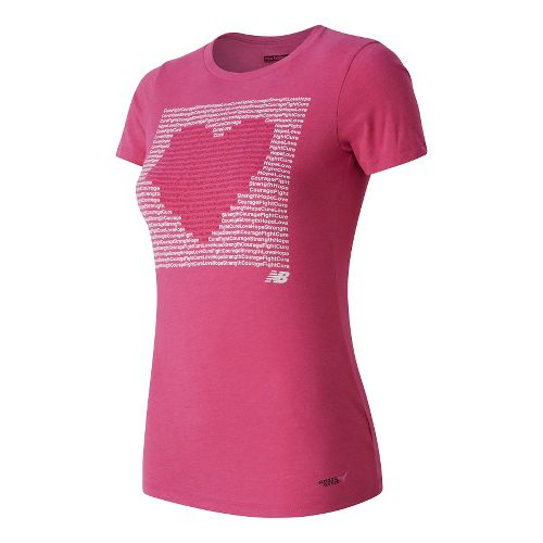Womens New Balance Lace Up Mantra Tee Technical Tops - Pink Flamingo M