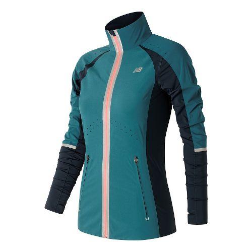 Womens New Balance Precision Run Running Jackets - Castaway M