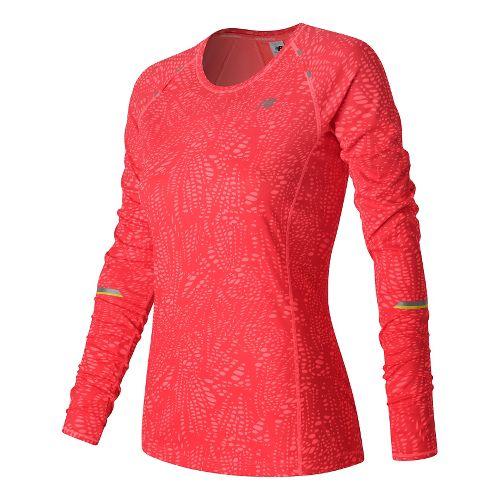 Womens New Balance NB Ice Long Sleeve Technical Tops - Guava Print M