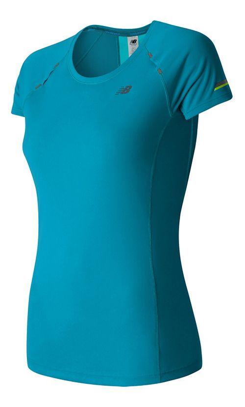 Womens New Balance NB Ice Short Sleeve Technical Tops - Deep Ozone Blue S