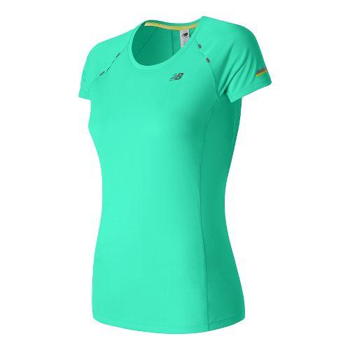 Womens New Balance NB Ice Short Sleeve Technical Tops - Aquarius XL