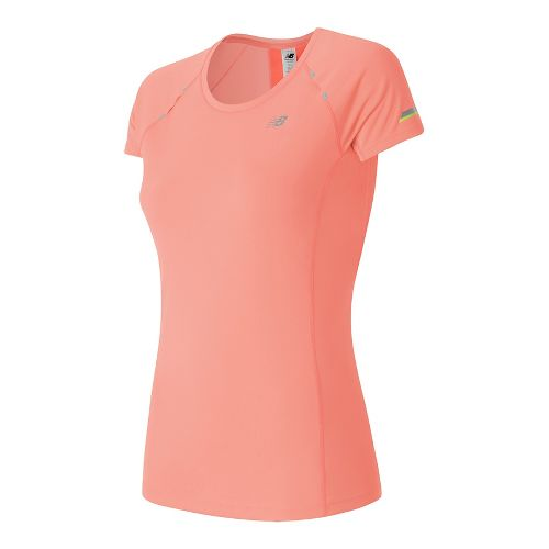 Womens New Balance NB Ice Short Sleeve Technical Tops - Bleached Sunrise M