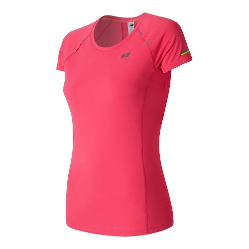 Womens New Balance NB Ice Short Sleeve Technical Tops - Pomegranate M