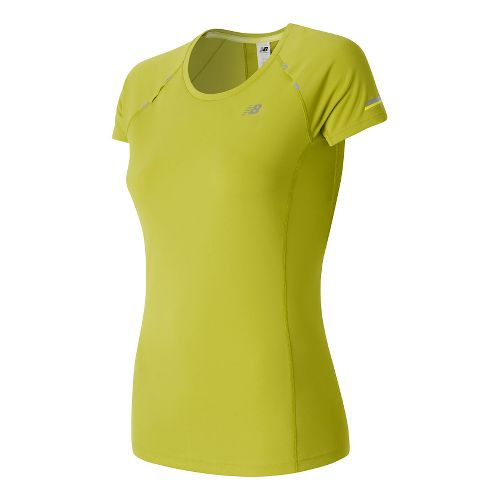 Womens New Balance NB Ice Short Sleeve Technical Tops - Firefly L