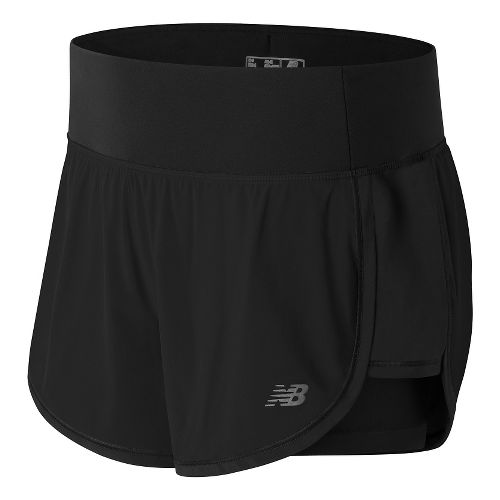 Womens New Balance Impact 4in 2-In-1 Lined Shorts - Black M