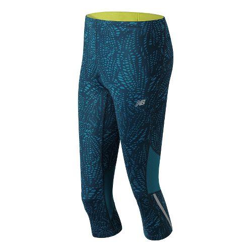 Womens New Balance Impact Print Capris Pants - Castaway Multi L