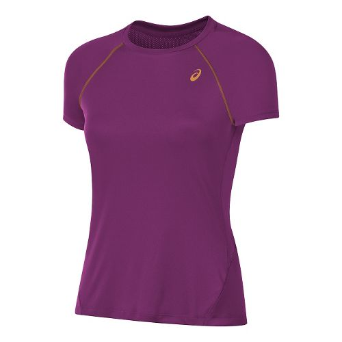 Womens ASICS Slim Short Sleeve Technical Tops - Purple XS
